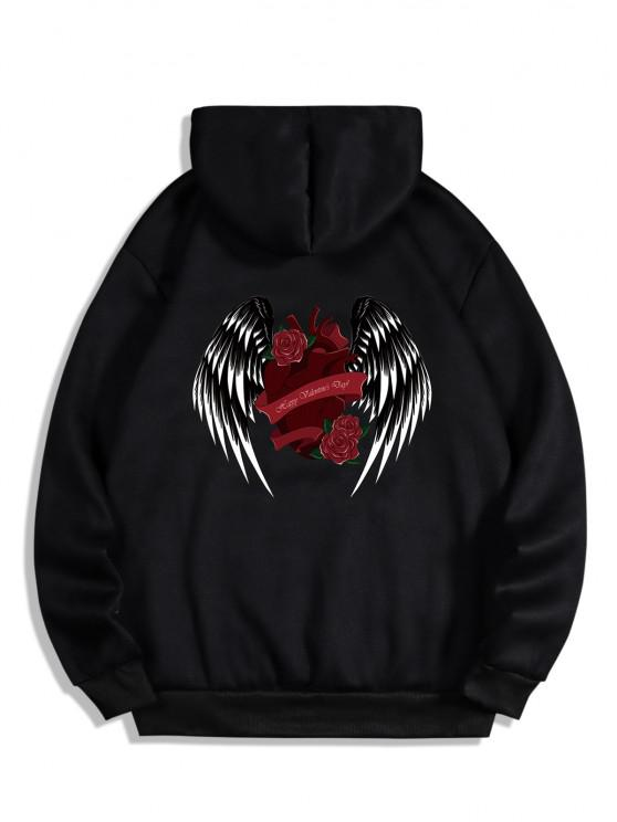 Rose Heart Wing Happy Valentine's Day Print Fleece Hoodie - أسود 2XL
