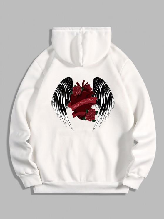ladies Rose Heart Wing Happy Valentine's Day Print Fleece Hoodie - WHITE XL