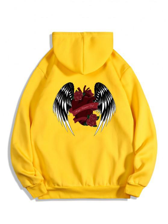 best Rose Heart Wing Happy Valentine's Day Print Fleece Hoodie - BRIGHT YELLOW 2XL
