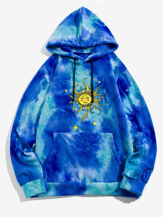 best Sun Moon Star Print Tie Dye Polar Fleece Hoodie - BLUE XL
