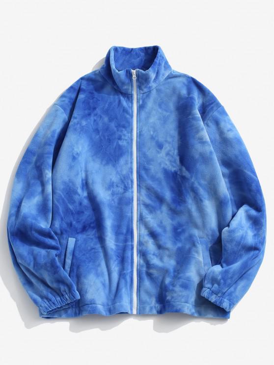 fancy Tie Dye Pattern Zip Up Fleece Jacket - BLUE XL