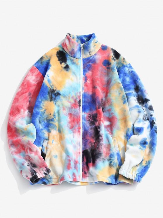 online Tie Dye Pattern Zip Up Fleece Jacket - MULTI-A L