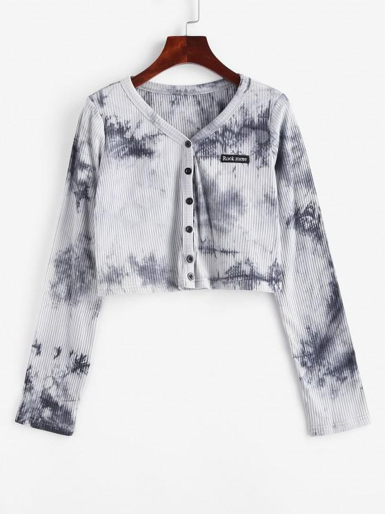 best Tie Dye Rib-knit Embroidered Detail Crop Top - GRAY M