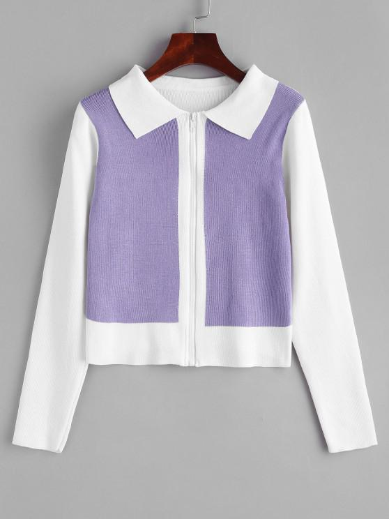 shops Two Tone Bicolor Zip Up Knit Cardigan - WHITE ONE SIZE
