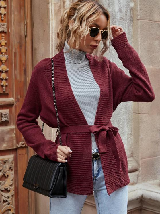 fancy Open Front Belted Cardigan - DEEP RED S