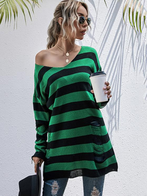 lady Ripped Skew Neck Colorblock Stripe Sweater - DEEP GREEN M