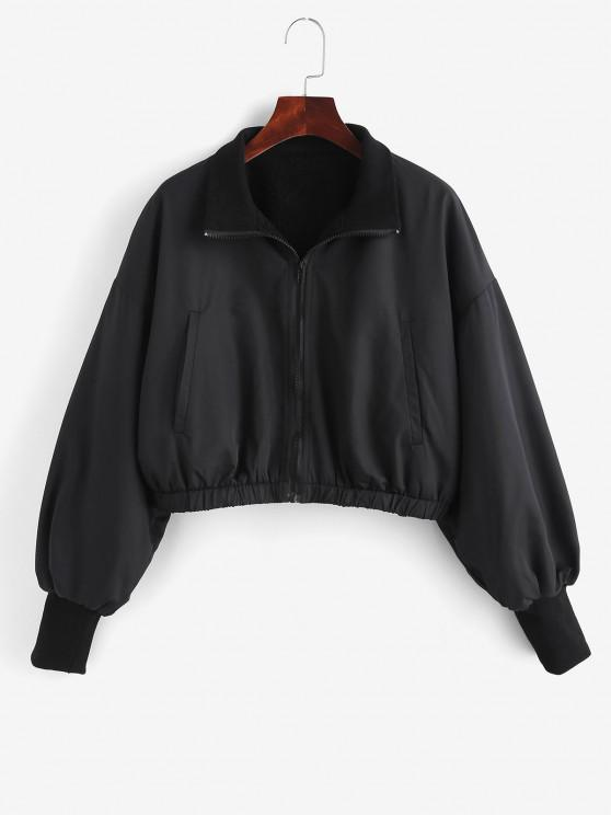 fashion Zip Up Fleece Lined Bomber Jacket - BLACK M