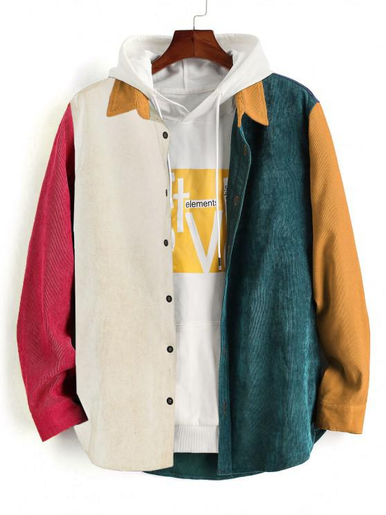 outfit Colorblock Panel Long Sleeve Corduroy Shirt - BEE YELLOW M