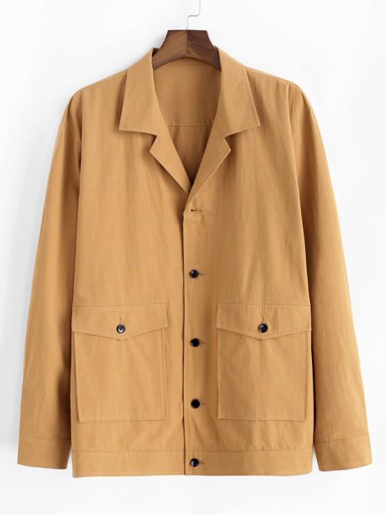 Button Up Notched Collar Flap Pocket Jacket - الأصفر XL