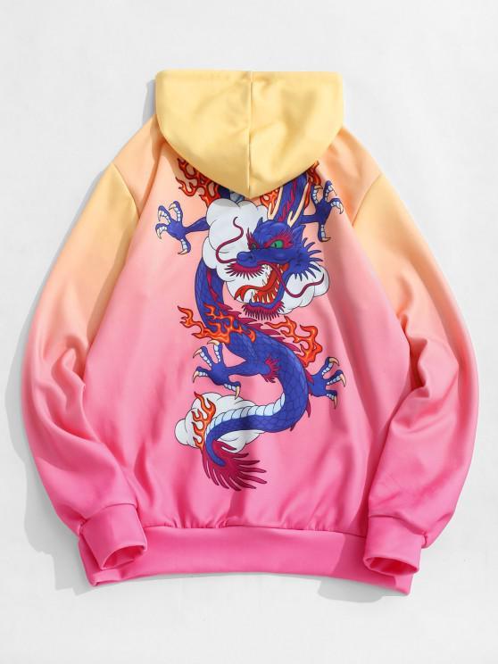 Kangaroo Pocket Dragon Cloud Ombre Print Hoodie - بين الاحمر XL