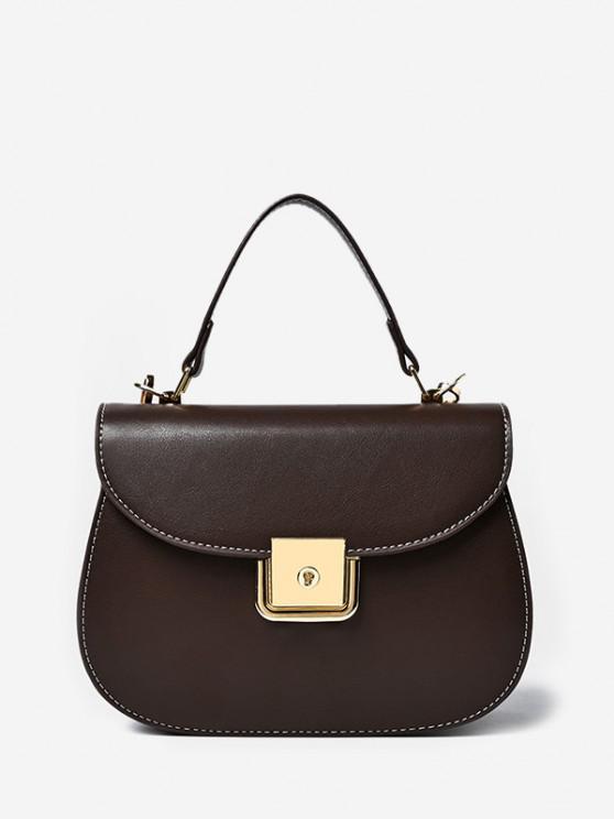 ladies PU Leather Flap Saddle Bag - COFFEE