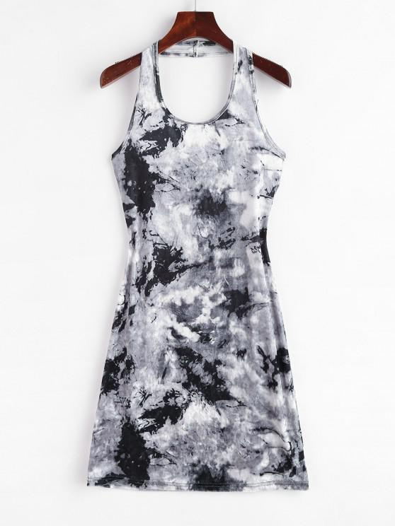 ladies Tie Dye Velvet Halter Bodycon Dress - GRAY S