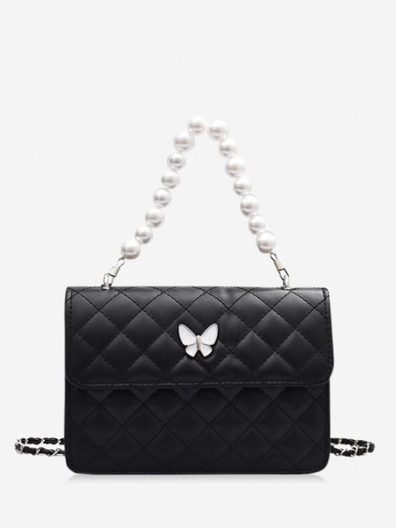 best Faux Pearl Double Strap Butterfly Detail Crossbody Bag - BLACK