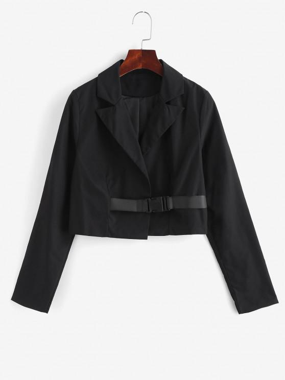 Notch Lapel Buckle Cropped Jacket - أسود L