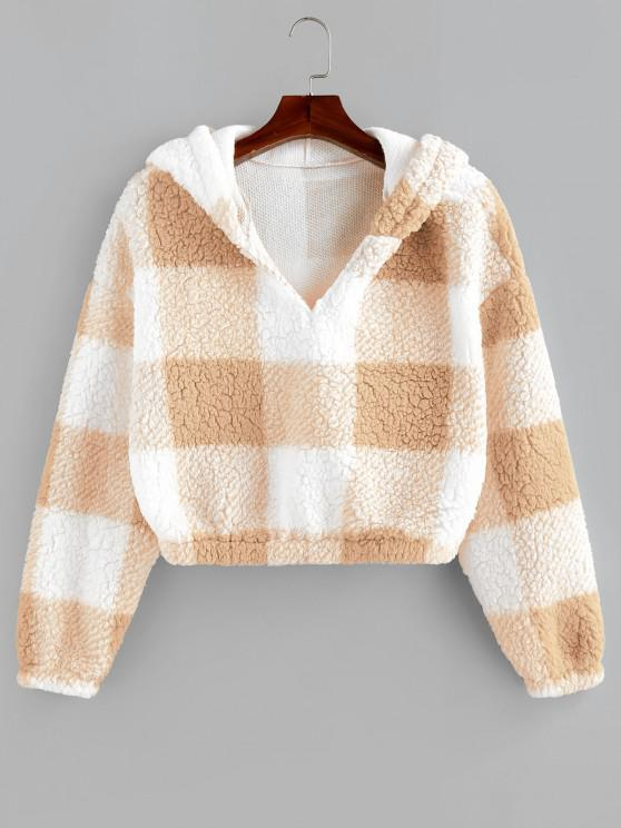 outfit ZAFUL Colorblock Short Teddy Hoodie - BLANCHED ALMOND S
