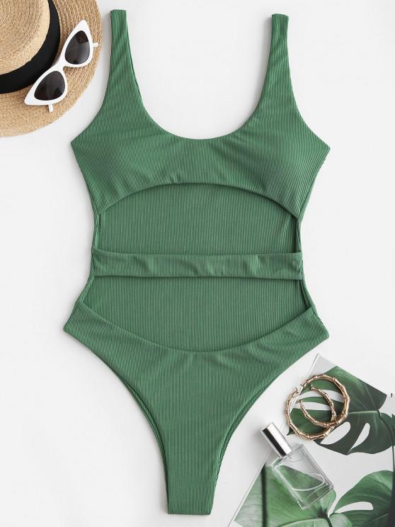 best ZAFUL Ribbed Cutout Underboob One-piece Swimsuit - LIGHT GREEN XL