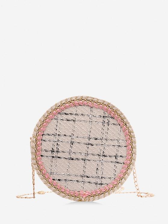 unique Plaid Pattern Chain Canteen Bag - MILK WHITE
