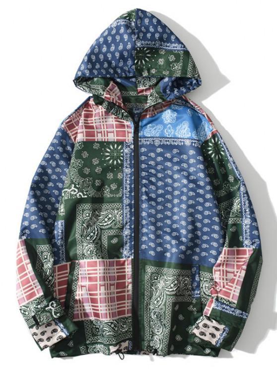 women's Hooded Bohemian Patchwork Print Jacket - DENIM DARK BLUE 2XL