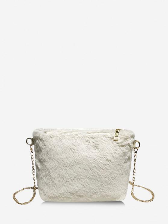 latest Faux Fur Chain Crossbody Bag - MILK WHITE