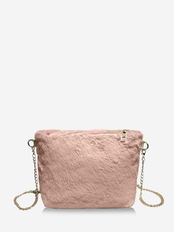 trendy Faux Fur Chain Crossbody Bag - PINK