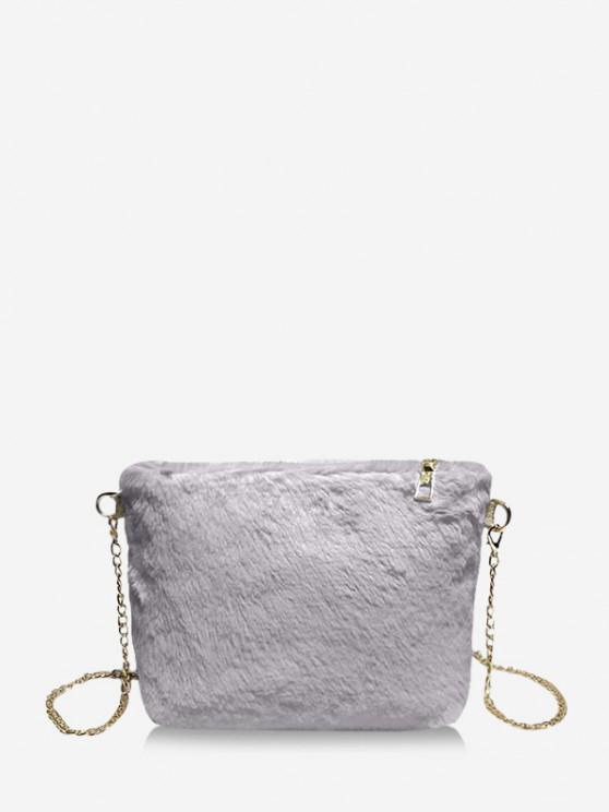 fashion Faux Fur Chain Crossbody Bag - BLUE GRAY