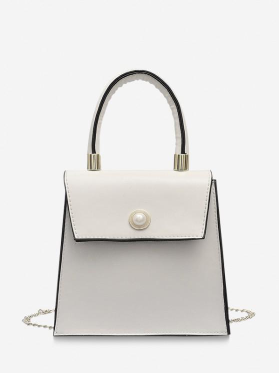 womens Faux Pearl Detail Chain Strap Crossbody Bag - MILK WHITE
