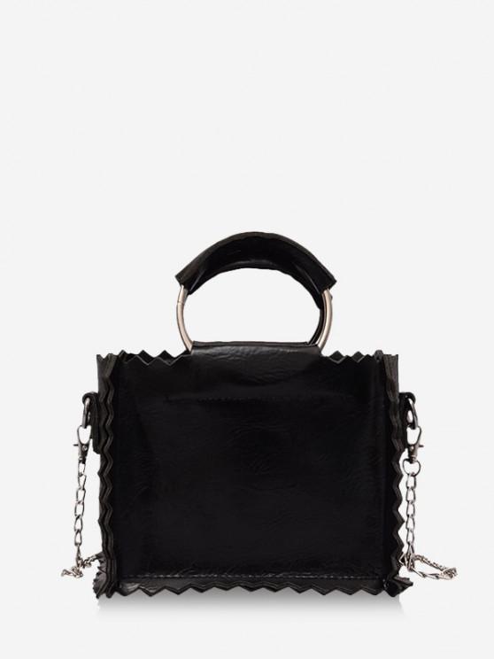 women's Zig Zag Edge PU Leather Crossbody Bag - BLACK