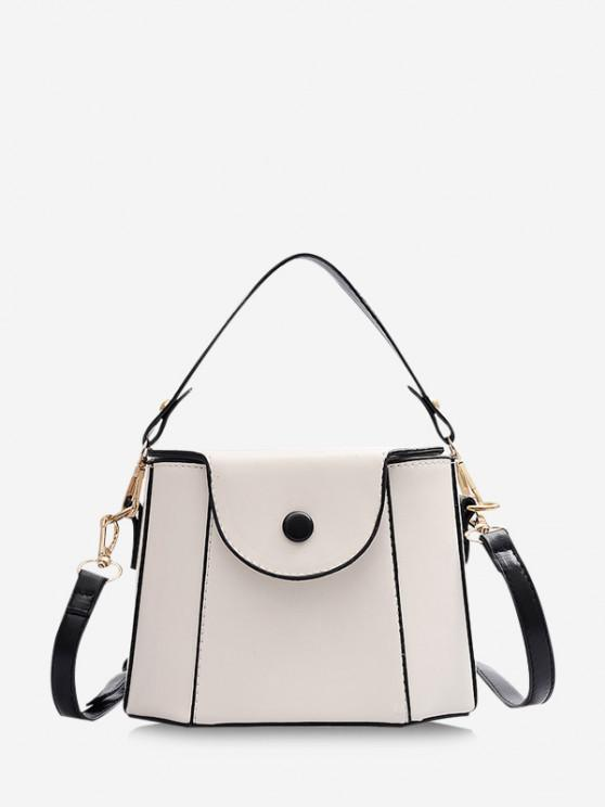 lady Colorblock Cover Crossbody Bucket Bag - NATURAL WHITE