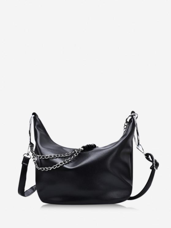 best Leisure Chain Beads Crossbody Bag - BLACK