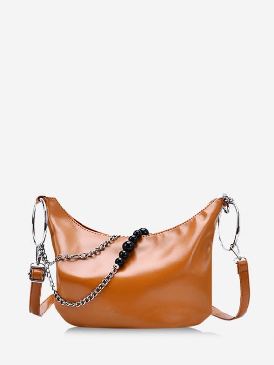 online Leisure Chain Beads Crossbody Bag - BROWN