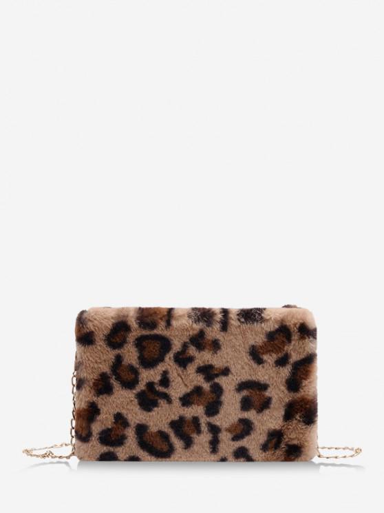 fashion Leopard Pattern Faux Fur Fluffy Crossbody Bag - KHAKI