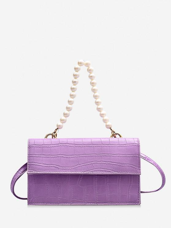 womens Animal Pattern Faux Pearl Double Strap Crossbody Bag - MAUVE