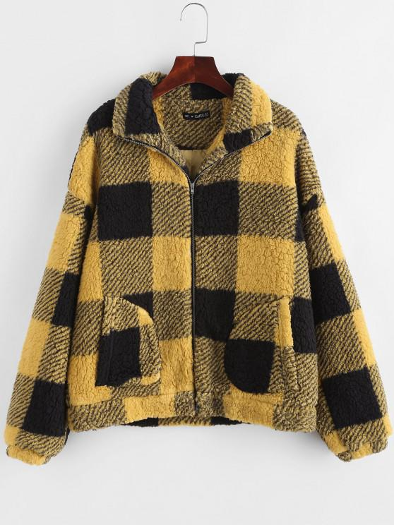 Plaid Faux Shearling Drop Shoulder Teddy Coat - الأصفر S