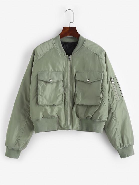 trendy Quilted Pocket Raglan Sleeve Zipper Coat - LIGHT GREEN M