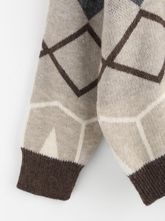 Zig Zag Geo Drop Shoulder Jumper Sweater - Coffee | ZAFUL
