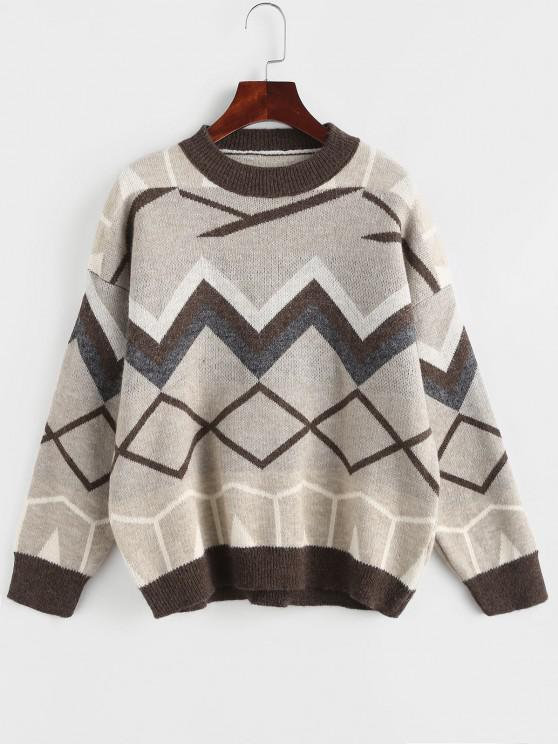 sale Zig Zag Geo Drop Shoulder Jumper Sweater - COFFEE ONE SIZE