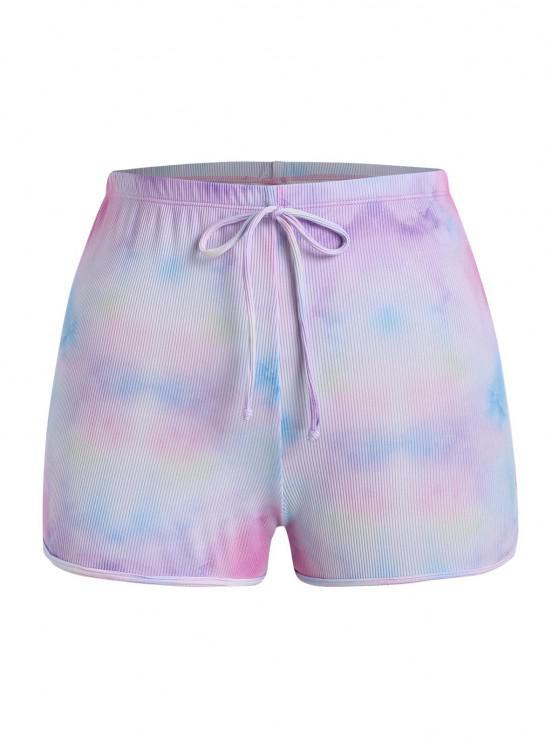 shop ZAFUL Plus Size Ribbed Tie Dye Bowknot Swim Bottom - LIGHT PURPLE XXXXL