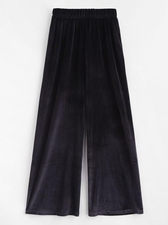 best Pull On Velvet Wide Leg Casual Pants - BLACK ONE SIZE
