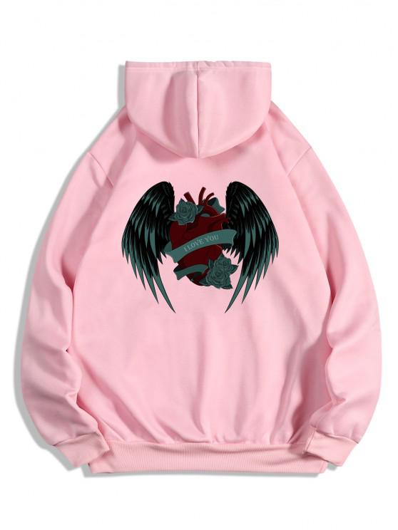shop I Love You Rose Heart Wing Graphic Fleece Hoodie - PINK S