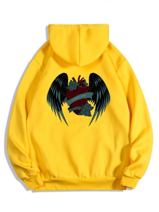 I Love You Rose Heart Wing Graphic Fleece Hoodie - أصفر فاقع S