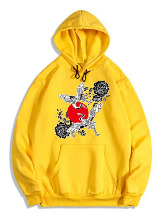 Chinoiserie Flying Crane Red Sun Flower Print Fleece Hoodie - المطاط الحبيب الأصفر L
