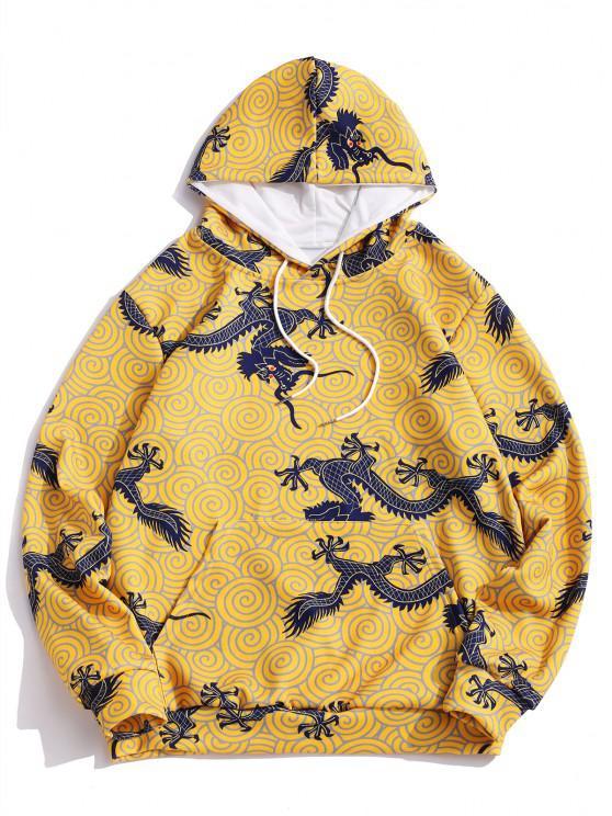 buy Kangaroo Pocket Dragon Cloud Print Drawstring Hoodie - GOLDENROD 2XL