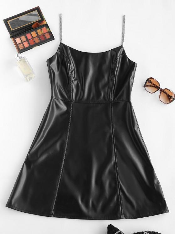 hot Faux Leather Chain Strap Zip Back Cami Dress - BLACK S