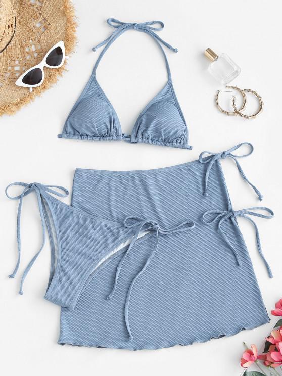 women's ZAFUL Halter Textured Tie Three Piece Bikini Swimsuit - LIGHT BLUE S