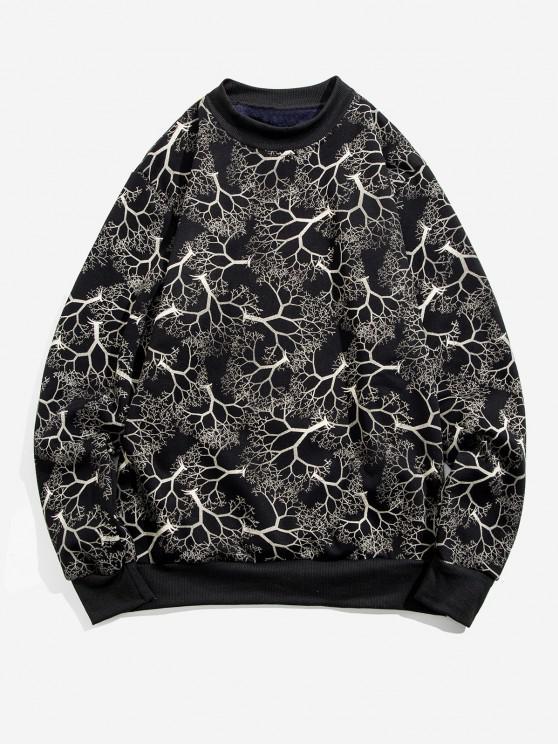 Trees Print Rib-knit Trim Fleece Sweatshirt - أبيض M