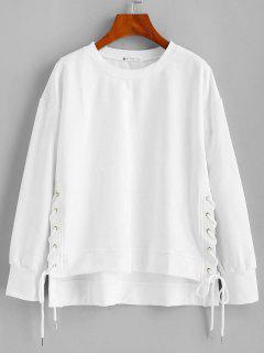 ZAFUL Lace Up High Low Sweatshirt - White S