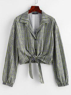 Plaid Tie Front Button Up Lapel Shirt - Gray L