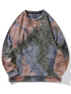 Sweat-shirt Teinté Coloré Imprimé - Brun Foncé 2xl