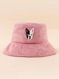 Bordado Del Perrito Del Patrón De Cubo Sombrero De Cubo - Rosa Claro