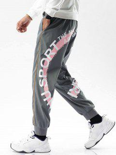 Striped Letter Paint Pattern Beam Feet Pants - Gray Xs